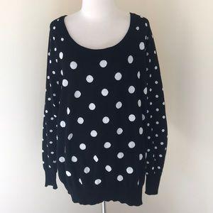 Torrid 2X black polka dot crew sweater